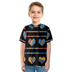 Colorful harts pattern Kids  Sport Mesh Tee