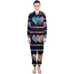 Colorful harts pattern Hooded Jumpsuit (Ladies)
