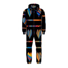 Colorful harts pattern Hooded Jumpsuit (Kids)