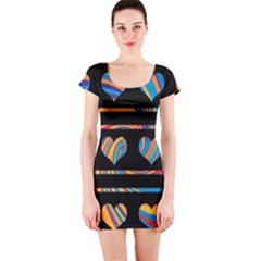 Colorful harts pattern Short Sleeve Bodycon Dress