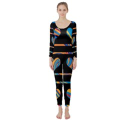 Colorful harts pattern Long Sleeve Catsuit