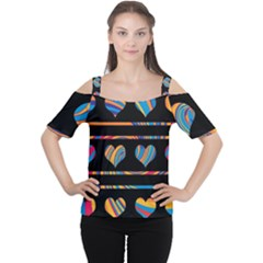Colorful harts pattern Women s Cutout Shoulder Tee