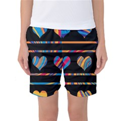Colorful harts pattern Women s Basketball Shorts