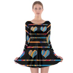 Colorful harts pattern Long Sleeve Skater Dress