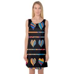 Colorful harts pattern Sleeveless Satin Nightdress