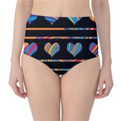 Colorful harts pattern High-Waist Bikini Bottoms