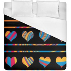 Colorful harts pattern Duvet Cover (King Size)