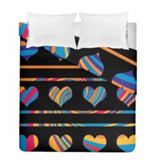 Colorful harts pattern Duvet Cover Double Side (Full/ Double Size)