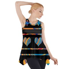 Colorful harts pattern Side Drop Tank Tunic