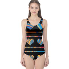 Colorful harts pattern One Piece Swimsuit