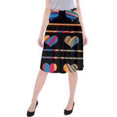 Colorful harts pattern Midi Beach Skirt
