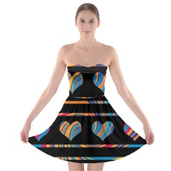 Colorful harts pattern Strapless Bra Top Dress