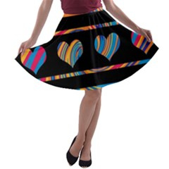 Colorful harts pattern A-line Skater Skirt