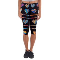 Colorful harts pattern Capri Yoga Leggings
