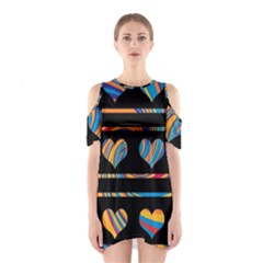 Colorful harts pattern Shoulder Cutout One Piece
