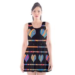 Colorful harts pattern Scoop Neck Skater Dress