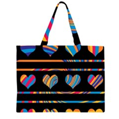 Colorful harts pattern Zipper Large Tote Bag