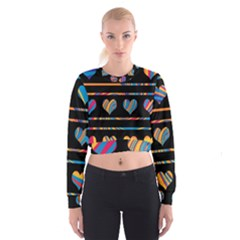 Colorful harts pattern Women s Cropped Sweatshirt