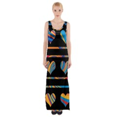 Colorful harts pattern Maxi Thigh Split Dress