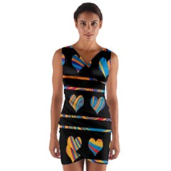 Colorful harts pattern Wrap Front Bodycon Dress