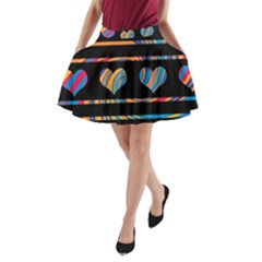 Colorful harts pattern A-Line Pocket Skirt