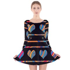 Colorful harts pattern Long Sleeve Velvet Skater Dress