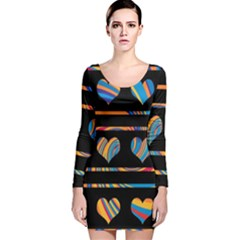 Colorful harts pattern Long Sleeve Velvet Bodycon Dress