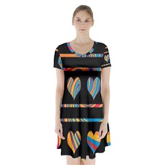 Colorful harts pattern Short Sleeve V-neck Flare Dress