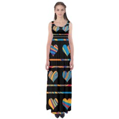 Colorful harts pattern Empire Waist Maxi Dress