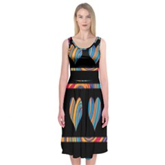 Colorful harts pattern Midi Sleeveless Dress