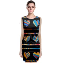 Colorful harts pattern Classic Sleeveless Midi Dress