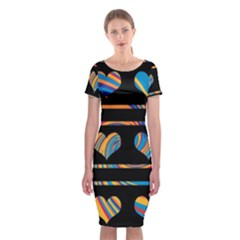 Colorful harts pattern Classic Short Sleeve Midi Dress