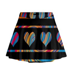 Colorful harts pattern Mini Flare Skirt