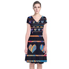 Colorful harts pattern Short Sleeve Front Wrap Dress