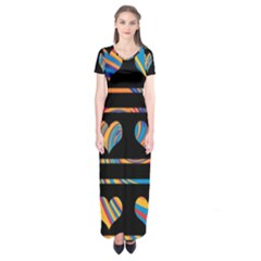 Colorful harts pattern Short Sleeve Maxi Dress