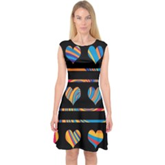 Colorful harts pattern Capsleeve Midi Dress