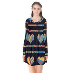 Colorful harts pattern Flare Dress