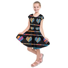 Colorful harts pattern Kids  Short Sleeve Dress