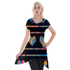 Colorful harts pattern Short Sleeve Side Drop Tunic
