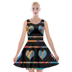 Colorful harts pattern Velvet Skater Dress