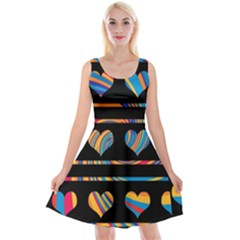 Colorful harts pattern Reversible Velvet Sleeveless Dress