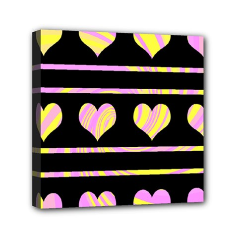 Pink and yellow harts pattern Mini Canvas 6  x 6
