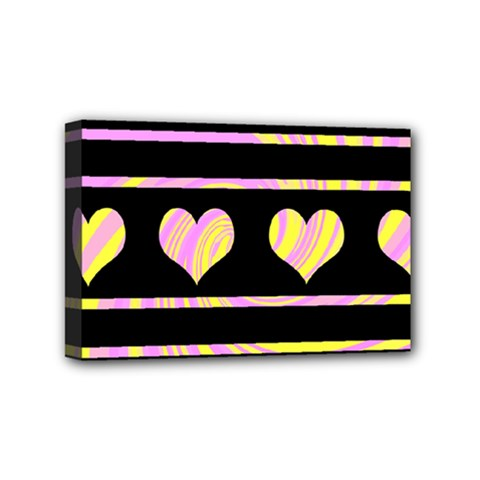 Pink and yellow harts pattern Mini Canvas 6  x 4