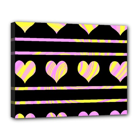 Pink and yellow harts pattern Canvas 14  x 11