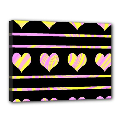 Pink and yellow harts pattern Canvas 16  x 12