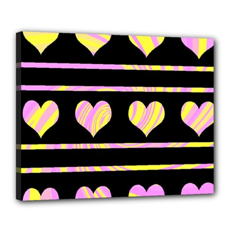 Pink and yellow harts pattern Canvas 20  x 16