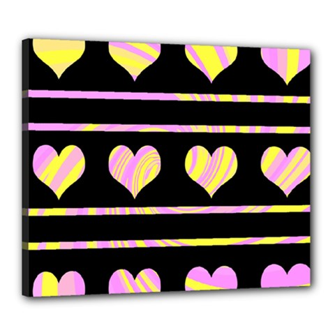 Pink and yellow harts pattern Canvas 24  x 20