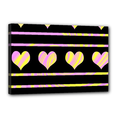 Pink and yellow harts pattern Canvas 18  x 12