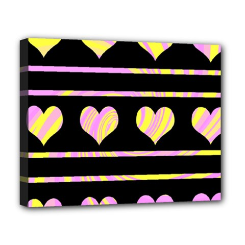 Pink and yellow harts pattern Deluxe Canvas 20  x 16