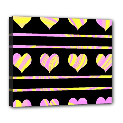 Pink and yellow harts pattern Deluxe Canvas 24  x 20